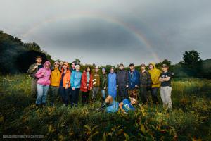 Второй день на проекте. 2 дня подряд над нашим лагерем появлялась двойная радуга.
